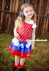 World Cup Baby Girl Bow Red White Dot Top White Blue Red Ruffle Pettiskirt NB-8Y