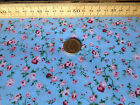 FLORAL POLYCOTTON FABRIC ROSE GARDEN - BLUE BACKGROUND - WINE & CORAL PINK PETAL