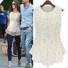 New Sleeveless Embroidery Lace Flared Fit Peplum Crochet Top T-Shirt Blouse