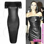 WOMENS NEW OFF SHOULDER BARDOT DRESS LADIES PU LONG BODYCON MIDI WET LOOK TOPS