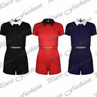 Ladies Gold Plated Collared Short Sleeve All In One Shorts Piece Womens Playsuit