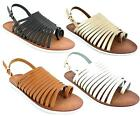 **SALE** LADIES DOWN TO EARTH STRAPPY SLING BACK  FLAT GLADIATOR SANDALS F0754