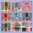 CB2_ Lot of 50 Hair Snap Clip w Gingham Cover 55 mm