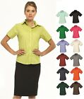 Ladies Womens Business Hospitality Barwear Short Sleeve Poplin Shirt Blouse