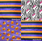 Halloween Purple Orange Stripe Pumpkin Zebra Skull Craft Satin Fabric 1 Yard
