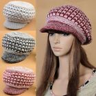 New Women's Wool Hat Ski Cap Hand Knitted Beanie Warm Hat 3 Colors