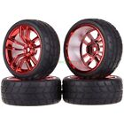 1 10 RC model On-road car Rubber High Grip tires & RED Aluminum wheel rims (611)