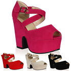 New Womens Wedge Chunky Heels Ladies Strappy Peep Toe Sandals Size 4-9