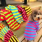 Coral Fleece Puppy Pet Dog Stripes T Shirts Clothes Apparel Hoody Size XS S M L