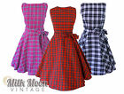 Vintage Retro Rockabilly Punk Tartan Goth Swing Skater Party Circle Dress 8-24