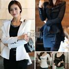 Womens One Button Lapel Casual Slim Suits Blazer Jacket Sleeve Coats 2 Colors