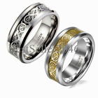 8mm Tungsten Carbide Silver Celtic Dragon Black Inlay Ring Men's Wedding Band