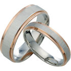 18K Rose Gold Silver Plain Matching Bands Couple Promise Wedding Rings  082A3