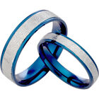 Unisex His and Her Blue Silver Engraved Plain Titanium Wedding Rings Set 083A3