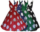 New 40's 50's Vintage Retro Big Polka Dot Lightweight Cotton Flared Dress 8-22