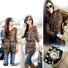 2014 Sexy Ladies Womens Tunic Leopard Tops Blouses Cardigan Coats Shirts BF00