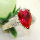 925 Sterling Silver Water Drop Ruby Wedding Engagement Micro inlays Ring R9227