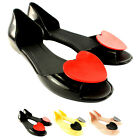 Womens Mel Fresh Heart Peep Toe Flats Jelly Slip On Summer Sandals UK Sizes 3-8