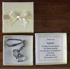 MOTHER OF BRIDE GROOM SILVER HEARTS KEY RING PERSONALISED GIFT BOX WITNESS MULTI