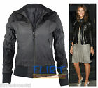 Womens Bomber Jacket Celebrity PVC Faux Leather Zip Fitted Biker Jackets Coats