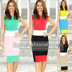 Womens New Contrast Colors Striped Casual Stretch Bodycon Pencil Tea Dresses 677