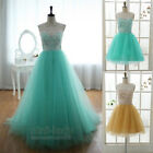Stock Short/Long Aqua Net Lace Evening Party Prom Bridesmaid Dress Ball Gowns