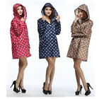 Women Girls Outdoor Travel Waterproof Hiking Dot Pocket Hooded Raincoat Poncho