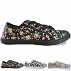 New Girls Flat Plimsoles Casual Lace Up Canvas Shoes Pumps Trainers UK Sizes 3-8