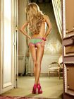 MESH BOYSHORT WITH LACE TRIM PANTIES Size S-L Green/Pink