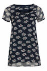 Womens Plus Size Swing Style Navy Daisy Print Chiffon Tunic With Cut Out Detail
