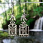 Antique Silver/Bronze Flying Bird and Cage Heart Earrings