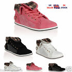 NEW LADIES WOMENS FLAT DIAMANTE FOLD OVER TOP LACE UP CASUAL TRAINERS SHOES