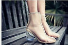 Womens Ladies Block Mid Heel Cut Out Transparent Clear Ankle Boots Shoes Sandals