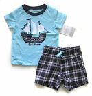 Carter's baby boy summer applique sailing Tee T-shirt checker short 2pc set
