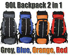 Camping Backpack Large 90L + 15L Day Pack Rucksack Bag Luggage Hiking New Travel