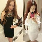 Women's New Sexy Lace Nightclub Long Sleeved Thin Package Hip Autumn Dress