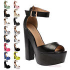 LADIES CHUNKY PEEP TOE WOMENS SUMMER STRAPPY HIGH HEEL SHOES SANDALS SIZE 5-10
