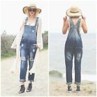NEW Women Denim Overall Jumper Romper Jumpsuit Ripped Distressed Casual (1A3198)
