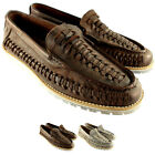 Mens Feud Britannia Tracker Slip On Loafer Moccasin Flat Leather Shoes UK 7-12