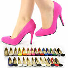 NEW LADIES COURT SHOES PUMPS SUEDE GLITTER CASUAL FORMAL HEEL MANY COLOURS