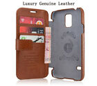 Luxury Genuine Leather Wallet Flip Case Cover For Samsung Galaxy S5 S 5 SV i9600