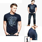 HOt Sales!2014 New JS Tiger pattern Mens Round Neck T-Shirt PJ Top Navy Blue