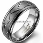 Comfort Fit 8mm Dome Grooved Men Tungsten Carbide Brushed Wedding Ring Size 7-12 image