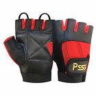 LEATHER FINGERLESS GLOVES WEIGHT TRAINING GYM BUS DRIVING CYCLING WHEELCHAIR-305