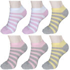 """6 Pairs Womens Striped Low-Cut Toe Socks """"Skin contact surface is 100% cotton"""""""