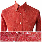 Mens Red PAISLEY Shirt by Relco NEW All Sizes Button Down Collar Retro Mod Vtg
