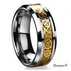 Tungsten Carbide Wedding Band Ring With a Gold Dragon Inlay, Sizes: L - Z+2 6mm
