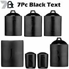 Black Text Ceramic Tea Coffee Sugar Biscuit Utensil Salt n Pepper Canisters Jars
