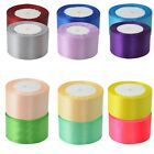"New 22 Metres 25 Yards Satin Ribbon 2"" 50mm 5cm Sold By Rolls Multiple Colours"