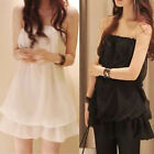 Women's Chest Wrapped Summer Strapless Nightclub Evening Cami Dress Chiffon